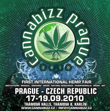 Poster der ersten internationalen Hanfmesse Cannabizz in Prag, Tschechien