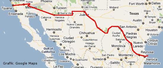 Grafik der Grenze zwischen den USA und Mexiko