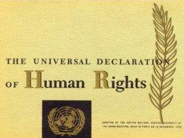 Foto der Universellen Deklaration der Menschenrechte