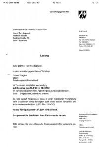 Ladung zu Günther Weigleins Verhandlung Cannabis Anbau für den medizinischen Eigenbedarf