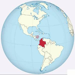 Grafik Karte Kolumbien auf der Erde