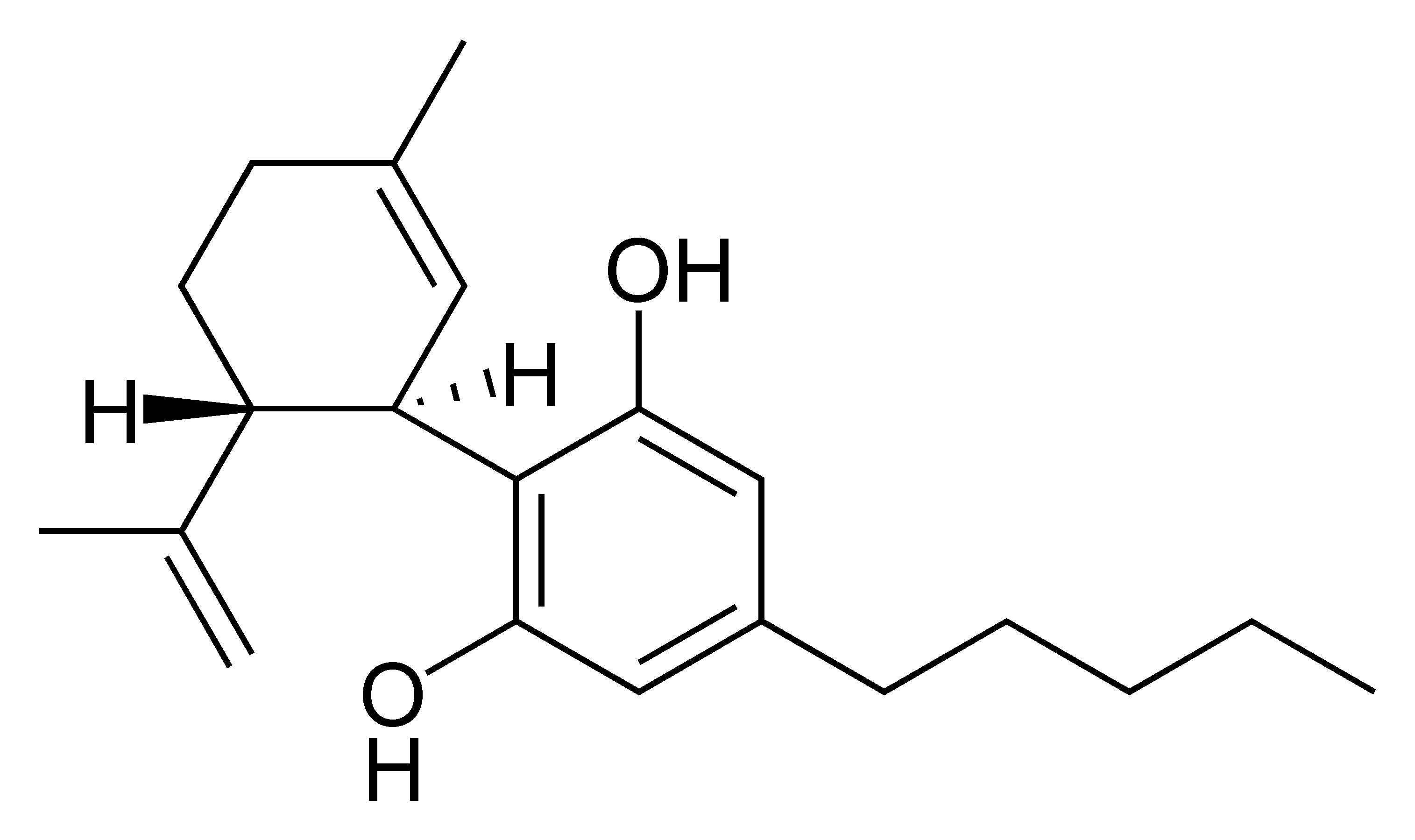 Grafische Darstellung des CBD - Cannabidiol - Moleküls