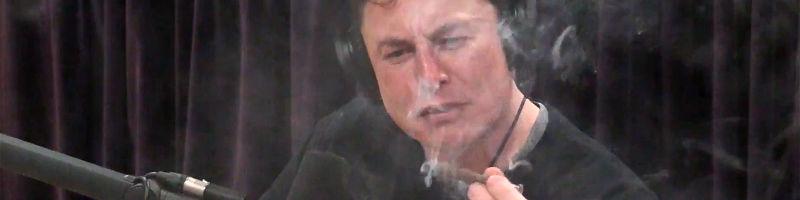 Elon Musk mit Cannabis Blunt während Interviews