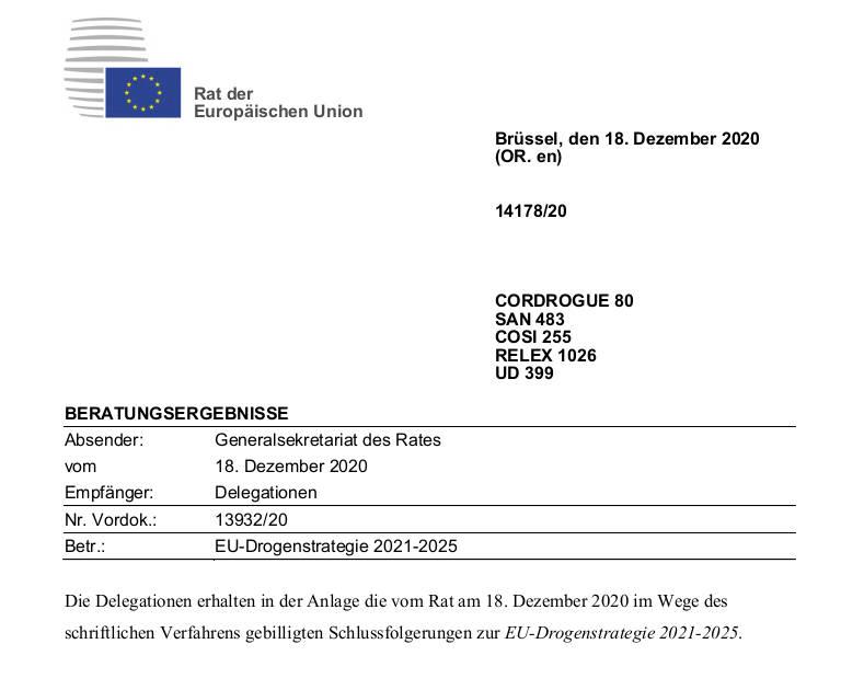 Grafik zur Europäischen EU Drogenstrategie 2021-2025